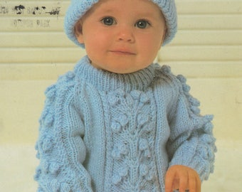 a75533f60e726c Instant PDF Digital Download Vintage Knitting Pattern to make Baby An Aran  Style Cable Sweater Jumper Pullover   Hat in DK Chest 18 to 20
