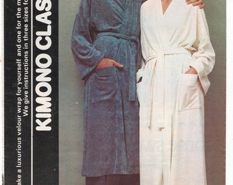 9d8b55a0af Instant PDF Digital Download Vintage 1970 s Instructional Sewing Pattern  Ladies Men s Wrap Over Kimono Dressing Gown Robe Chest 32-42