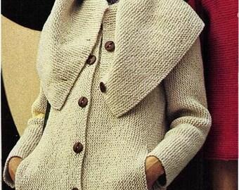 2f2059c64a2d22 Instant Download PDF Vintage Easy Bebinner s Knitting Pattern to make a  Ladies Cape Collar Garter Stitch Cardigan Coat Worked Sideways