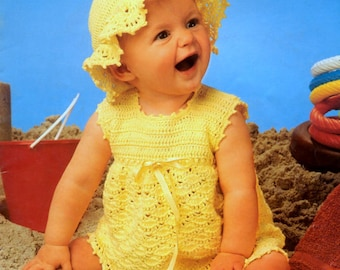 e1133eb4 Instant PDF Digital Download Vintage Crochet Pattern Baby Bebe Sleeveless  Lacy Dress & Frilly Brimmed Hat Picot Edging Chest 16-20