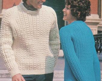 e0cf2ed3817142 Instant PDF Digital Download Knitting Pattern PDF to make Ladies Men s  Woman s Man s Aran Sweater Jumper Pullover DK   8 ply Aran or Chunky