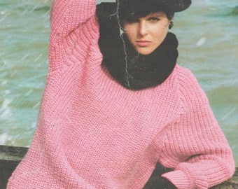 0fd8ddb52ae1d8 Instant PDF Download Vintage Row by Row Easy Knitting Pattern for a Ladies  Over-sized Baggy Fisherman s Rib Sweater Jumper Top Bust 34-44