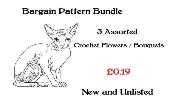 ickythecat™ Bargain Pattern Bundle PDF Digital  3 Assorted Crochet Patterns Flowers Floral or Bouquets New and Unlisted Patterns.