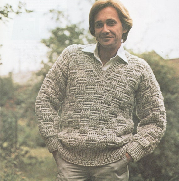 6c9fa36a8ce42 ... Instant PDF Digital Download Vintage Crochet Knitting Pattern to make  Man's Men's Sweater Jumper Pullover Heavy