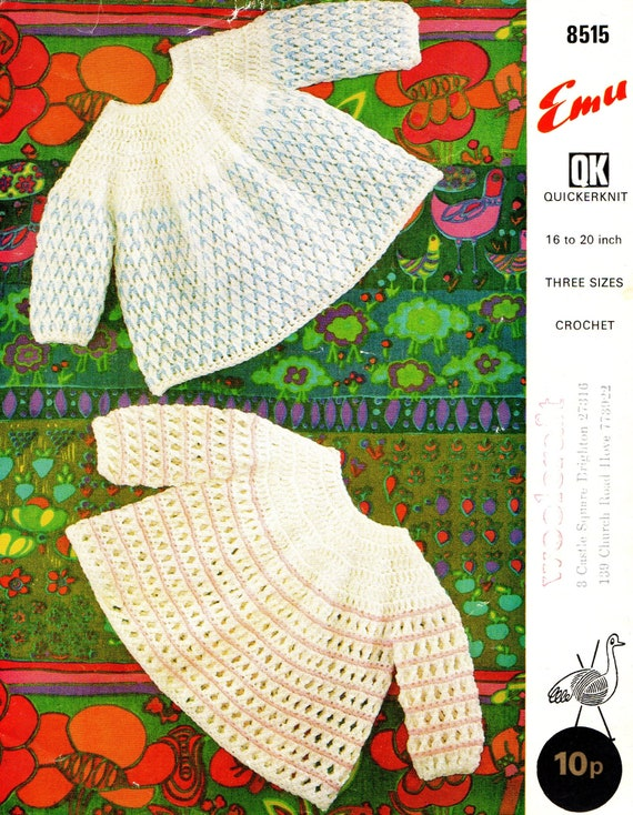 Original Vintage Crochet Pattern Emu 8515 Two Angel Tops in Quickerknit Chest 16'',18'',20''