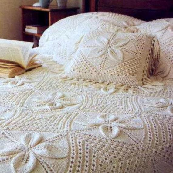 Instant PDF Digital Download Vintage Knitting Pattern ''Granny Square'' Blanket Afghan Throw Bedspread Counterpane Cushion Pillow Baby