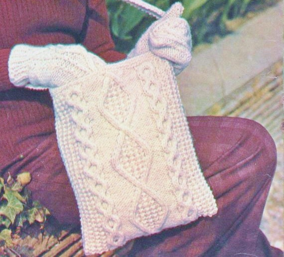 0b86cf298ed2 ALMOST FREE Instant PDF Download Vintage Row by Row Knitting Pattern Ladies  Traditional Aran Tote Bag