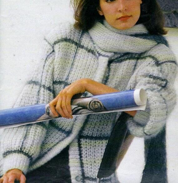 ... Instant Digital Download PDF Vintage Knitting with Crochet Pattern A  Ladies Loose Fitting Oversize Aran Jacket c56fbcd77