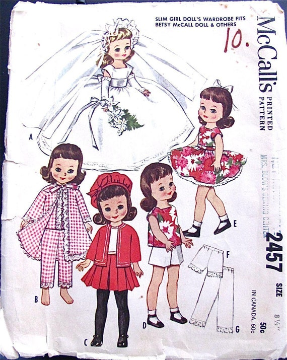 Instant PDF Digital Download Vintage Sewing Pattern to make a Wardrobe of Clothes for Slim Girl Dolls Like Betsy McCall