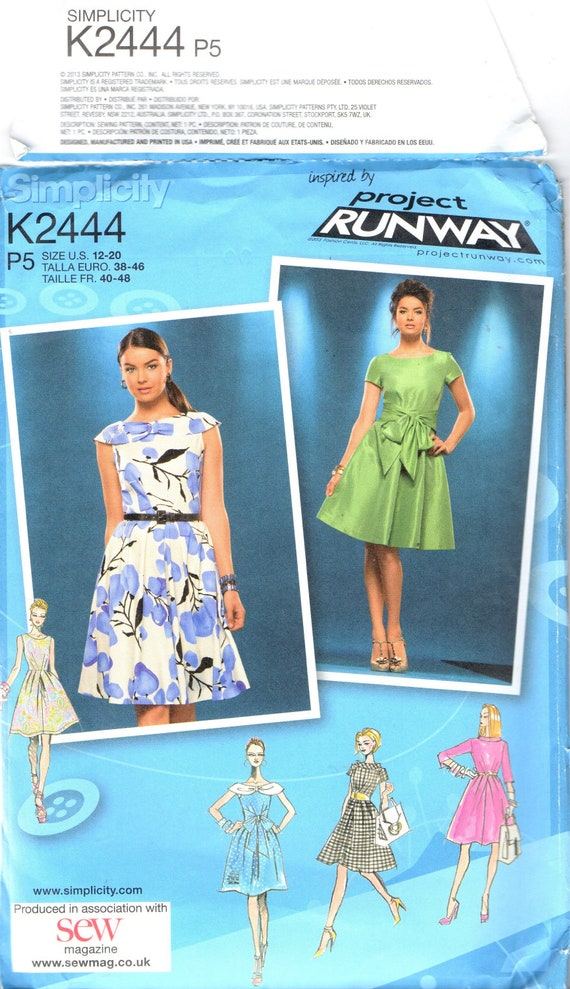 UNCUT Factory Folded Sewing Pattern Simplicity Project Runway K2444 P5  Ladies Women's Dress Collar & Sleeve Variations