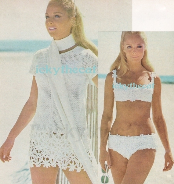 Instant PDF Digital Download Vintage Crochet Pattern PDF to make A Ladies Mini Dress or Tunic Dress or Beach Cover Up with Bikini 8-10/12-14