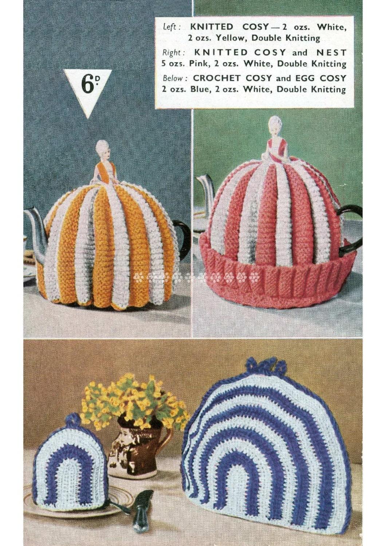 Vintage Knitting Crochet Pattern To Make 2 Crinoline Lady Tea