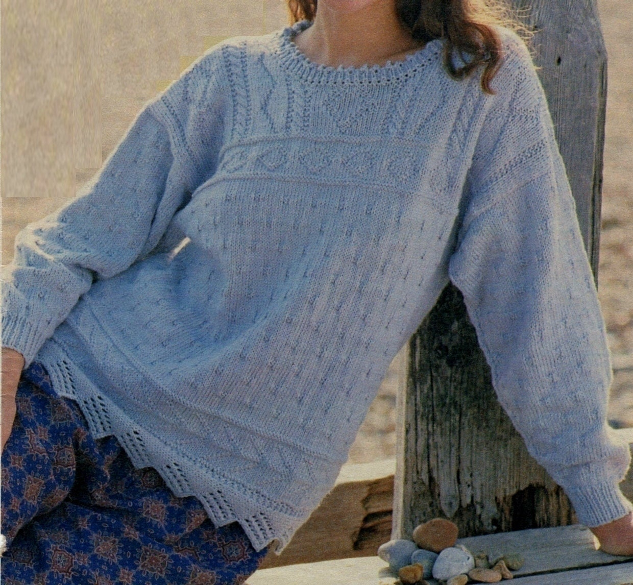 b6171f3da Instant PDF Download Vintage Row by Row Knitting Pattern to make Ladies  Loose Fitting Oversize Textured Tunic Sweater Pullover Jumper 32-38