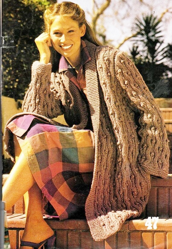 ea6ffa1b9dc9 Instant PDF Download Vintage Row by Row Knitting Pattern to make A Ladies  Chunky Aran Style Irish Knot Oversize Edge to Edge Cardigan Jacket
