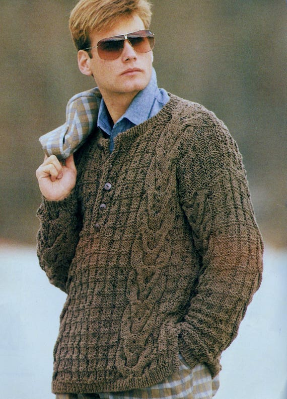 9822dd9ffef05 ... Instant PDF Digital Download Vintage Row by Row Knitting Pattern Mans  Mens Loose Fitting Chunky Cable