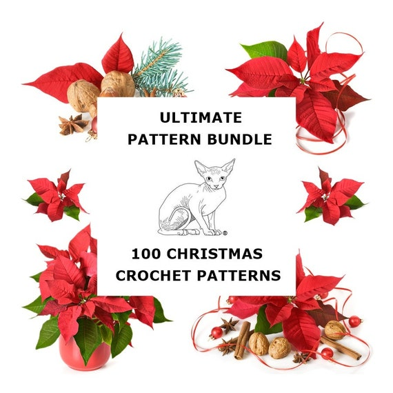 ULTIMATE Crochet Pattern Bundle© 100 Assorted PDF Digital Christmas Xmas Theme Patterns Angels,Snowflakes,Bells,Ornaments,Stockings,Tree etc