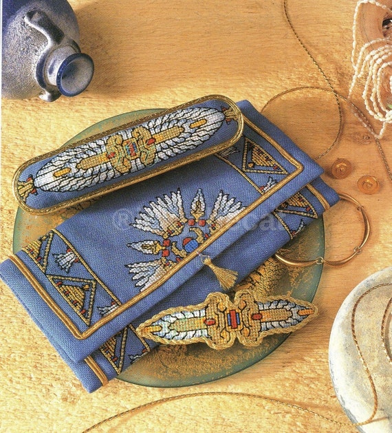 Rare Original Vintage Cross Stitch Ladies Womens Egyptian Hair Clip Jewellery Purse & Clothes Brush