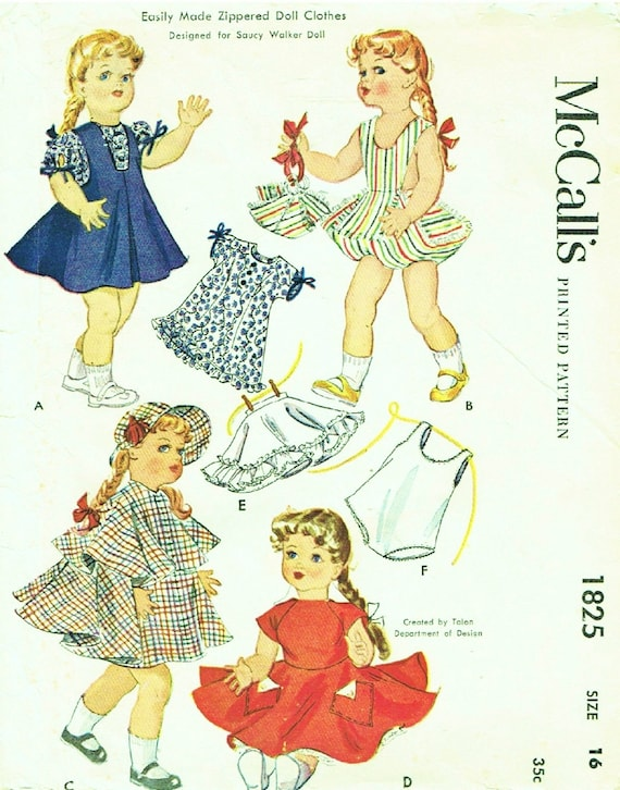Instant PDF Digital Download Vintage Sewing Pattern to make A Full Wardrobe of Clothes for 16'' Dolls like Saucy Walker