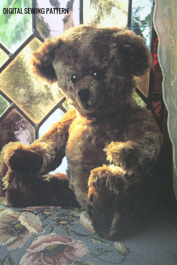 Instant PDF Digital Download Vintage Sewing Pattern to make A Superb 18' Fully Jointed Teddy Bear A Stuffed  Plush Soft Body Children's Toy