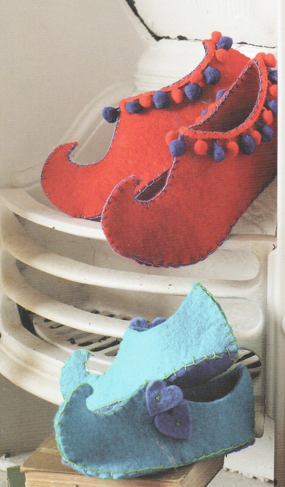 Instant PDF Digital Download Vintage Sewing Pattern Enlarged to make Easy Mens Women's Children's Curly Toe Slippers in Thick Felt