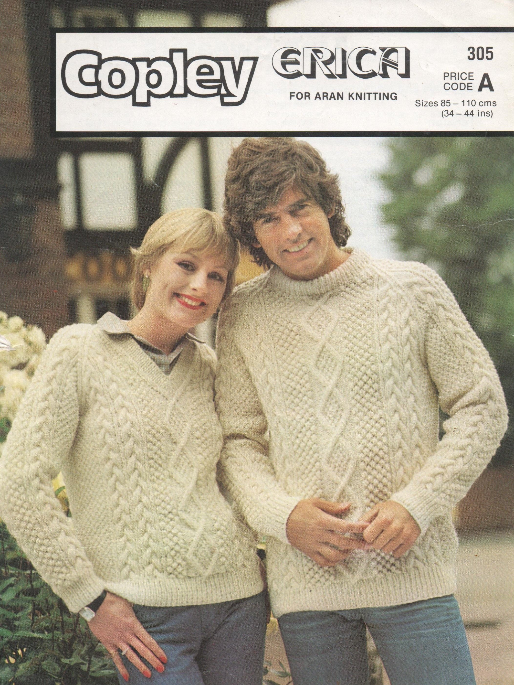 bc2385759351 Instant Digital Download PDF Vintage Row by Row Knitting Pattern to make A  Man s Woman s Aran Cable Sweater Jumper Pullover Chest 34-44