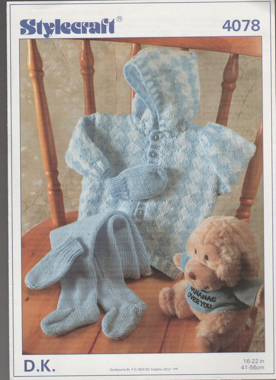 81a91a306071 Original Knitting Pattern Stylecraft 4078 Baby Toddler Hooded