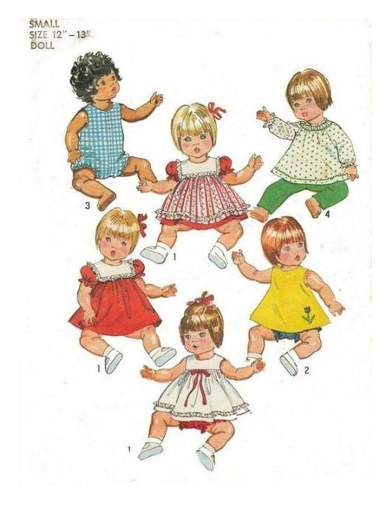 """PRINTED UK Freepost Vintage Sewing Pattern Dolls Clothes a Wardrobe of Clothes ADAPTED for 10-11"""" Vinyl Body Baby Dolls"""