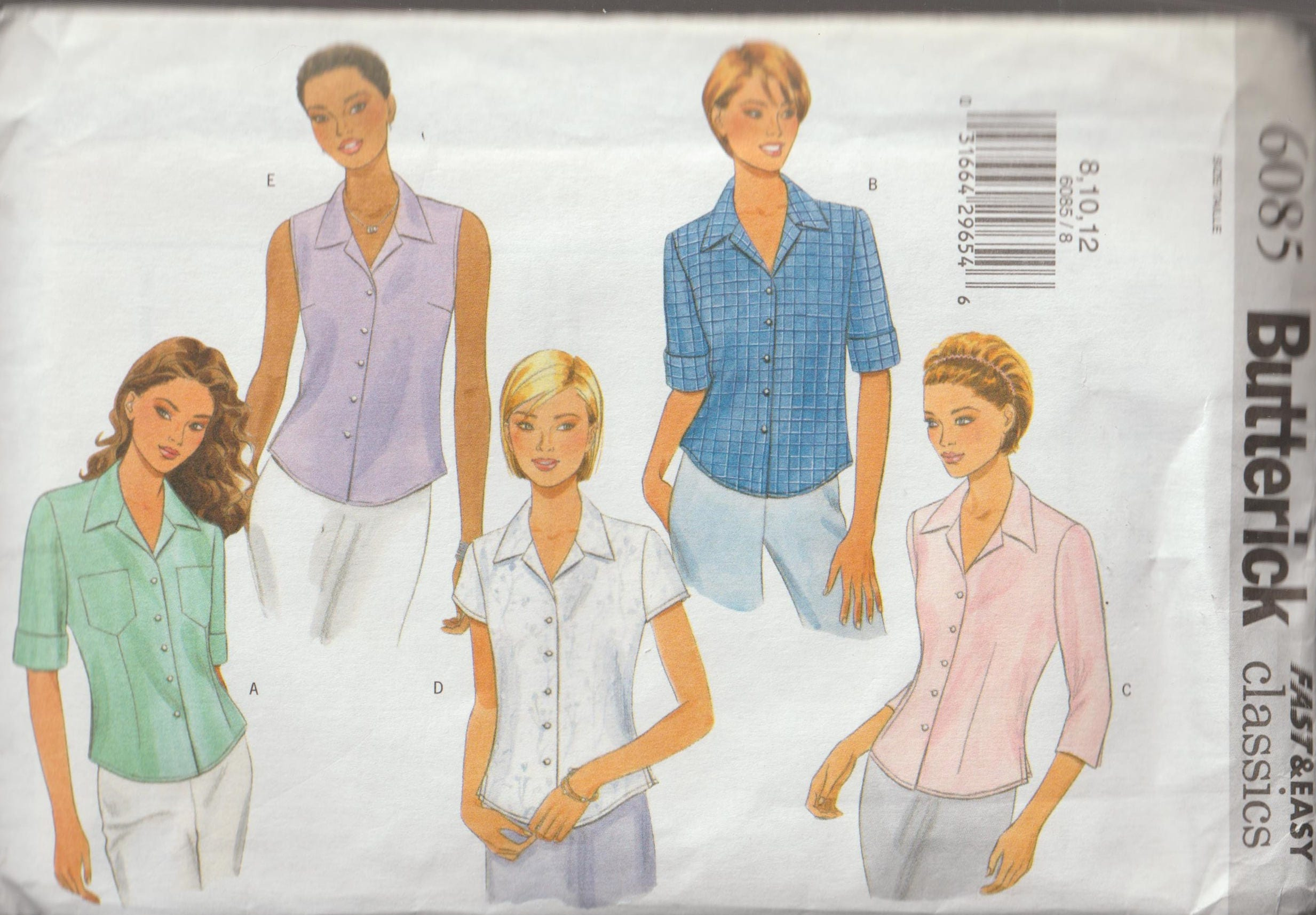 Original UNCUT Factory Folded Sewing Pattern Butterick 6085 Ladies ...