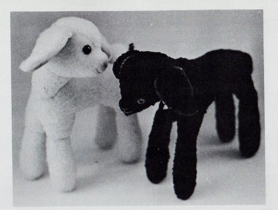Instant PDF Digital Download Vintage Full Size Sewing Pattern to make A Cute Stuffed Plush Soft Body Toy Baby Lamb Sheep 12'