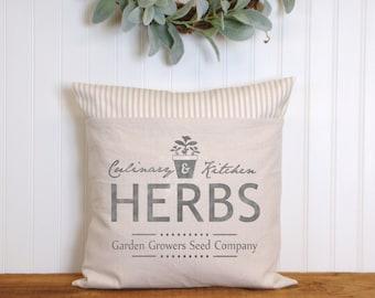 Farmhouse Pillow, Herbs, Kitchen Pillow, Home decor
