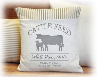 Feedsack Pillow Cover, Cattle Feed, Cow and Calf