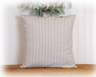Gray Ticking Stripe, Accent Pillow Cover