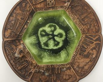 1970's Walt Disney World Souvenir Plate Green Brown USA Made
