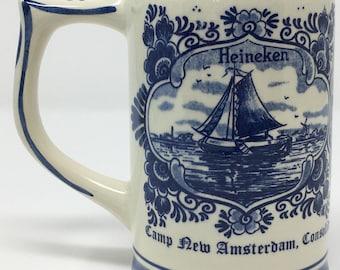 Blue Delft GKB hand painted 1977 Heineken beer stein