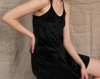 Black Velvet Babydoll Mini Dress