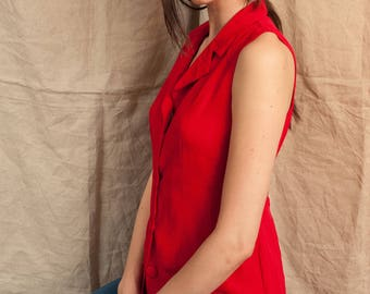 Red button up tank top with tie back