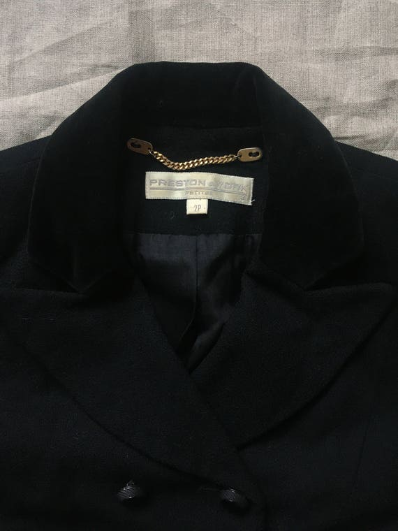 1990's Black Cropped Double Breasted Boxy Suit Ja… - image 8
