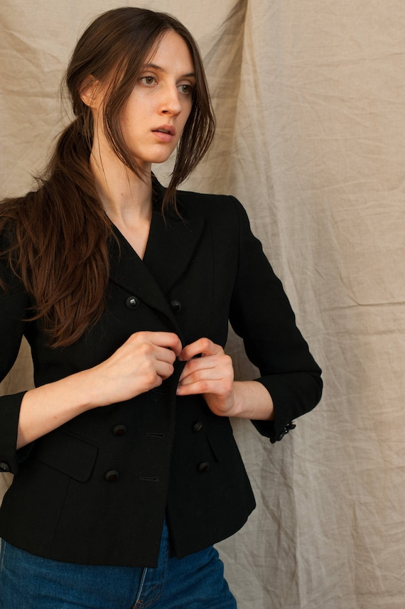 1990's Black Cropped Double Breasted Boxy Suit Ja… - image 2