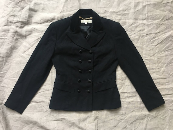 1990's Black Cropped Double Breasted Boxy Suit Ja… - image 3