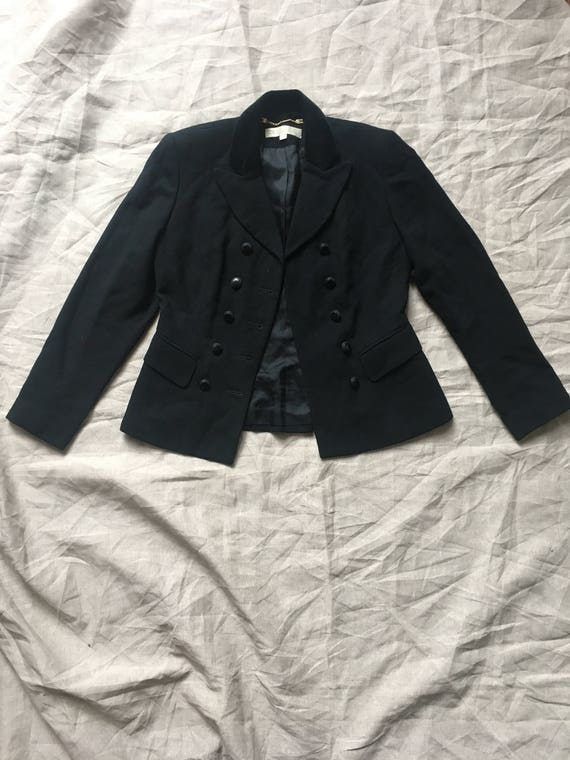 1990's Black Cropped Double Breasted Boxy Suit Ja… - image 4