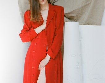 Red Double Breasted Full Length Coat Dress