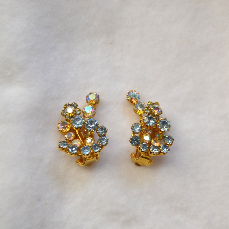 Karu Arke Karu rhinestone cluster Earrings from Austria Designer gold clip on earrings clip on earrings blue rhinestone cluster earrings