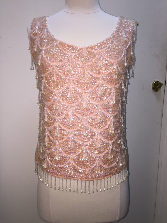 Vintage beaded sweater, 50's vintage sequin top, p