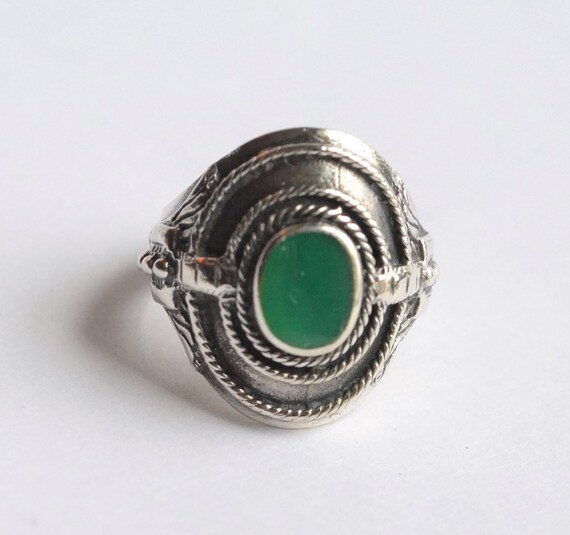 Silver green stone ring, tribal ring, green onyx r