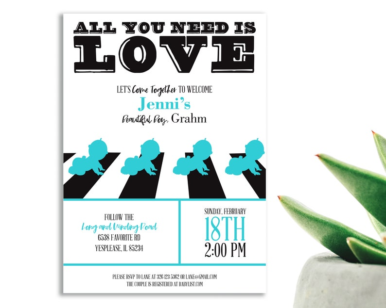 574eee3d20ddb Boy Baby Shower Invitation with All You Need is Love theme. | Etsy