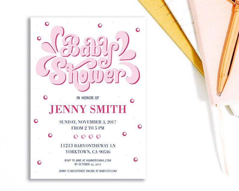 fbe74d80ad7fd Retro Baby shower Invite. 70s theme Printable Invitation or | Etsy