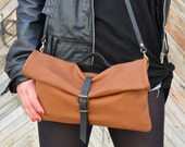 Foldover Leather Clutch Handbag, Tan Leather Bag, Brown Leather Crossbody Bag,Leather Purse,Leather bag,Leather Clutch Purse,Foldover Clutch
