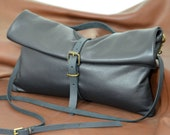 Foldover Leather Clutch Bag, Black Leather Bag, Leather Crossbody Bag, Leather Purse, Leather Handbag, Leather Clutch Purse,Fold Over Clutch