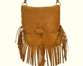 Handmade Split Suede Leather Boho Bag / Small crossover handbag /Brown Fringed Leather Bag/Ethnic Native Navajo Medicine/Mº JOSEFINE SL-MARR