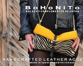 Foldover Leather Clutch, Zebra Leather Purse, Black leather Bag, Crossbody Leather Bag, Yellow Leather Handbag, Animal Print Bag,Leather Bag